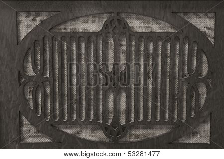 Black and White Antique Radio Grille for Gramophone II ** Note: Slight graininess, best at smaller sizes