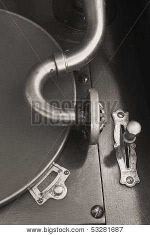 Vintage Gramophone Phonograph Closeup With Turntable and Needle VI (BW) ** Note: Slight graininess, best at smaller sizes