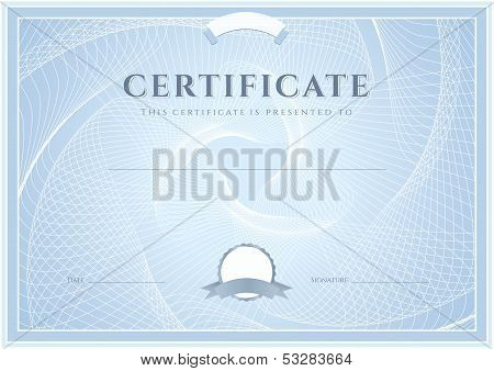 Certificate, Diploma of completion (design template, background) with Guilloche pattern (watermark)