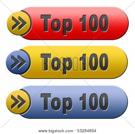 top 100 charts list pop poll result and award winners chart ranking music hits best top hundred quality rating prize winner icon
