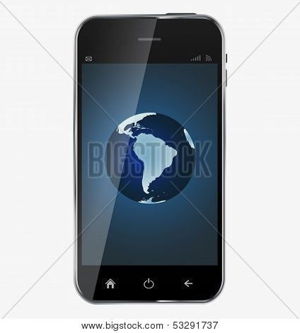 """Abstract design  realistic mobile phone with """"The whole world in your smartphone"""" screen isolated on white background..Vector  illustration poster"""