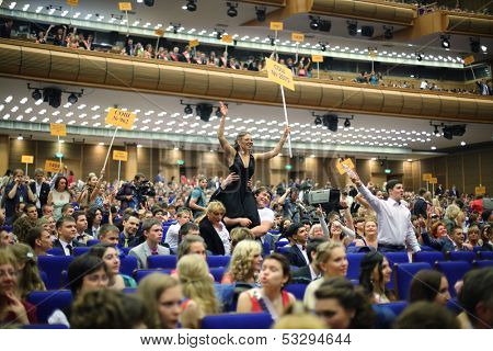 MOSCOW - JUN 23: Graduates from different secondary schools in the State Kremlin Palace on June 23, 2013 in Moscow, Russia.