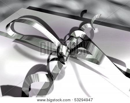close-up of a gift box (ribbon and bow)