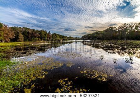 Reflections on Colorful Creekfield Lake, with Interesting Cloud Formations, Fall Colors, Trees, and