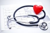 Stethoscope with a red heart on the top of the ECG chart poster