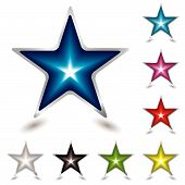 eight star gel icons with shadow with silver bevel poster