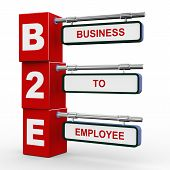 3d illustration of modern roadsign cubes signpost of b2e - business to employee poster