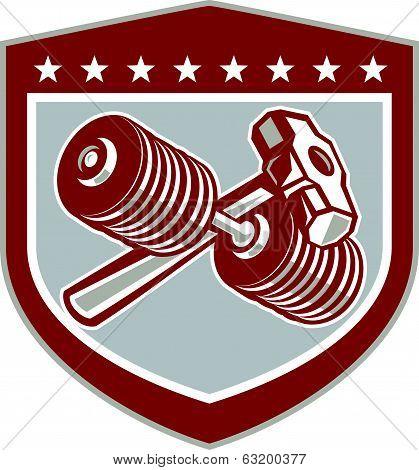 Crossed Dumbbell And Sledgehammer Shield Retro