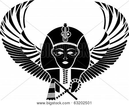 Egyptian pharaon with wings full face