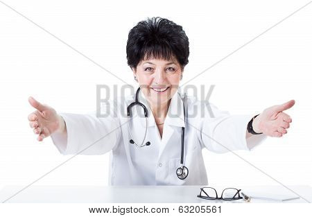 Welcoming And Happy Female Doctor