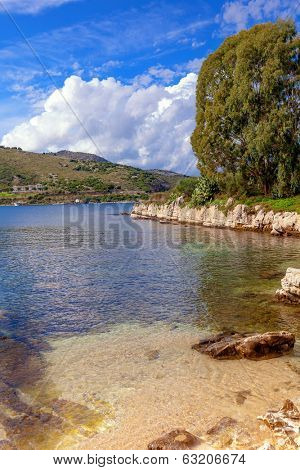 View of a picturesque cove on the Kassiopi peninsula on Corfu, Greece