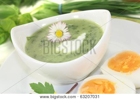 Herbs Soup With Eggs