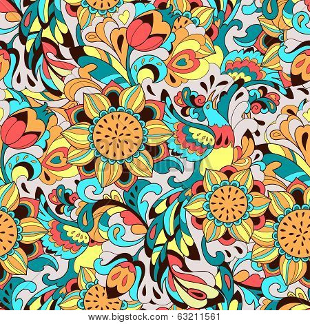 Colorful pattern with bird Phoenix and sunflower