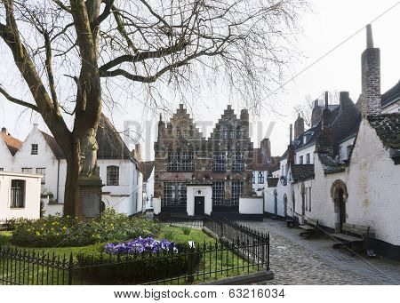 Courtyard Of Kortrijk Beguinage, Belgium.