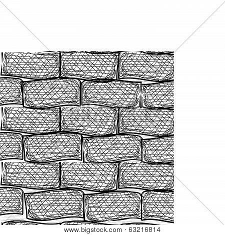 Old bricks. Seamless. Doodle style