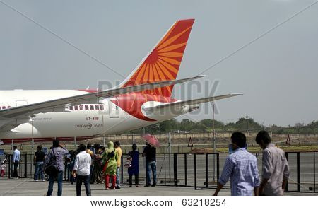 Boeing 787 Dreamliner air craft on display during India Aviation 2014