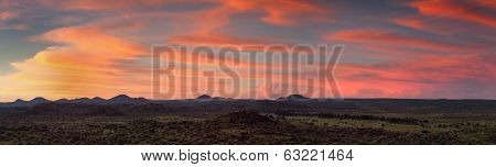 Panorama Of The Namibian Savannah At Sunset