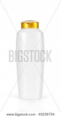 white shampoo bottle isolated on white background poster