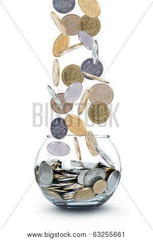 Jar of Money Isolated on a White Background poster