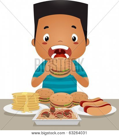 Illustration of a Little Boy Going on an Eating Binge