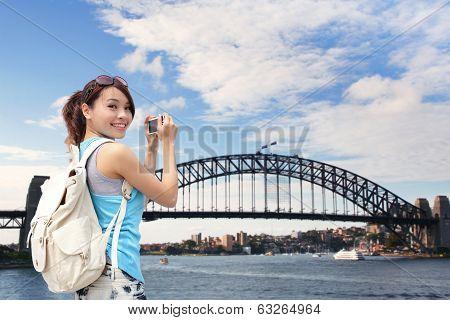 Happy Woman Traveler In Australia