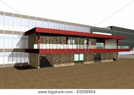 3D Render Of Modern Building