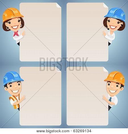 Foremen Cartoon Characters Looking At Blank Poster Set
