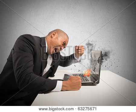 Concept of stress and frustration caused by a computer poster