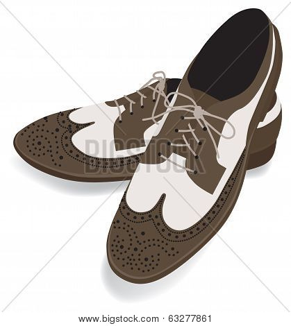 Wingtip Shoes  Brown For Man Isolated On White Background