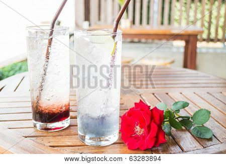 Healthy Herb Drinks Serving On Wood Table