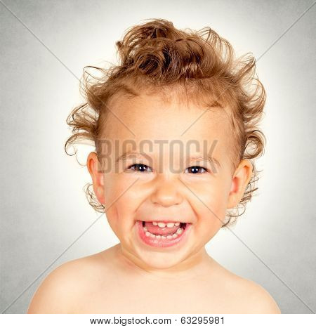 Little child with funny smile and hairstyle screaming poster