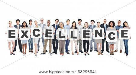 Multi-Ethnic Group Of Diverse People Holding Letters That Form Excellence