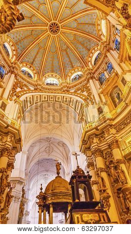 Basilica Dome Stained Glass Baptismal Fount Cathedral Andalusia Granada Spain