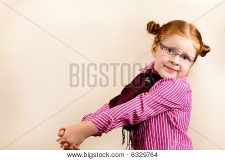 Portrait Of Cute Elegant Redhead Girl