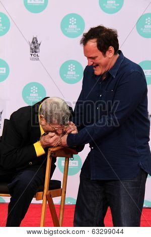 LOS ANGELES - APR 12:  Jerry Lewis, Quentin Tarantino at the Jerry Lewis Hand and Footprint Ceremony at TCL Chinese Theater on April 12, 2014 in Los Angeles, CA