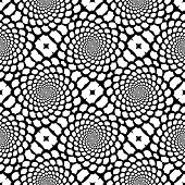 Design seamless monochrome spiral movement snakeskin pattern. Abstract background in op art style. Vector art poster