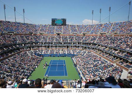 Arthur Ashe Stadium during US Open men semifinal match between Novak Djokovic and Kei Nishikori
