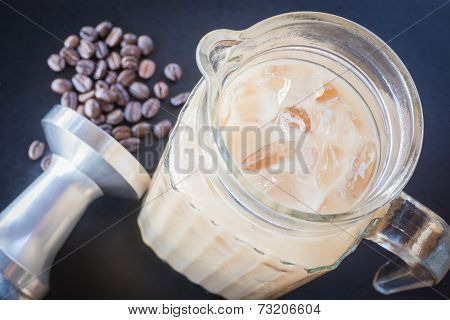 Iced Coffee Latte On Barista Work Table
