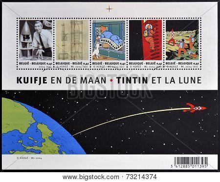 BELGIUM - CIRCA 2004: Stamps printed in Belgium dedicated to Tintin and Destination Moon circa 2004