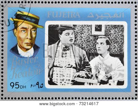 FUJEIRA - CIRCA 1972 : stamp printed in Fujeira shows actor Buster Keaton circa 1972