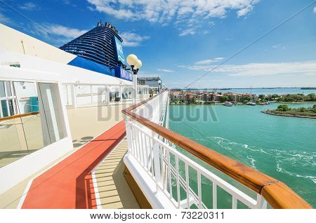 Scenic view of the main deck of a cruise ship from Norwegian cruise line arriving to the port