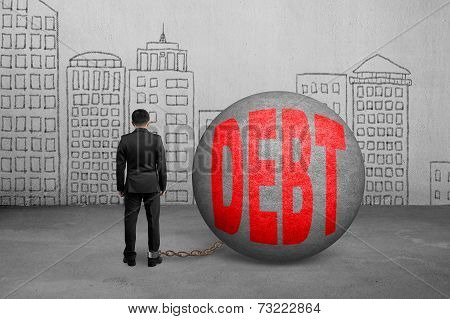 Businessman Being Trapped With Debt Ball