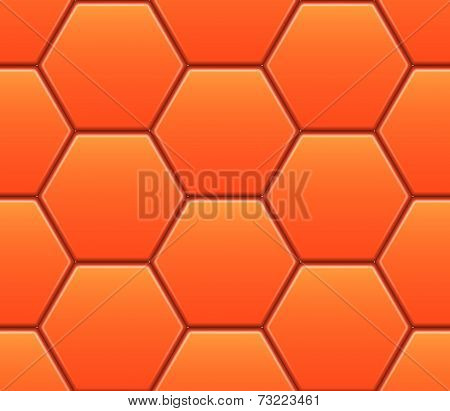 Vector seamless pattern with orange hexahedron puzzles