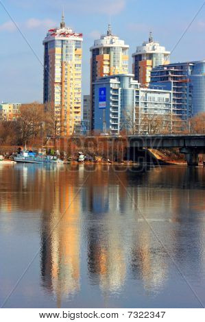 Kiev bussines city panorama with reflection