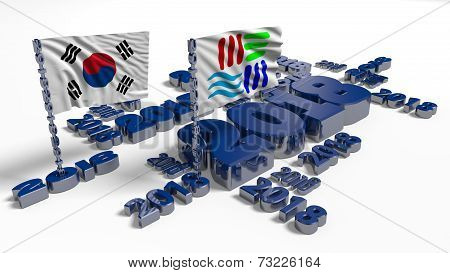 2018 Korean And Pyeongchang Flags