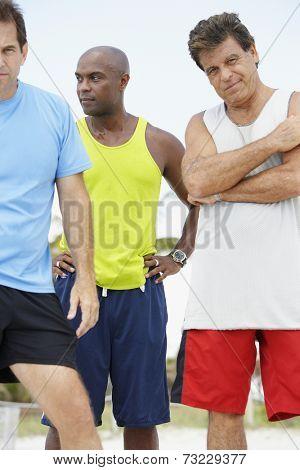 Multi-ethnic men in athletic gear
