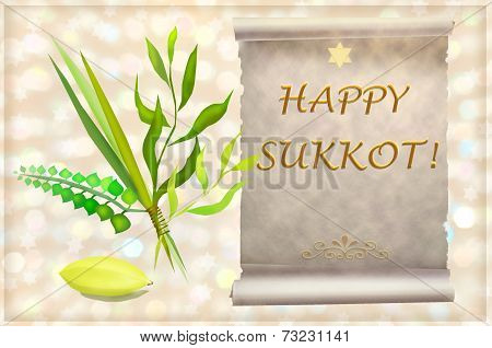 Symbols And Attributes Of Jewish Holiday Sukkot.