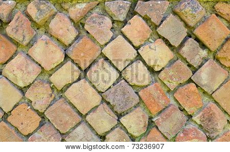 ancient roman wall called opus reticulatum. Velia - Italy