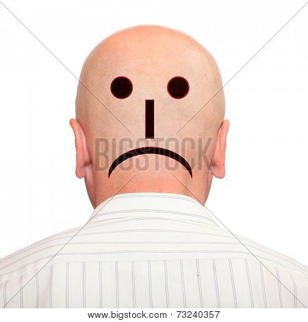 Emoticon on hairless head. Negative thinking concept.