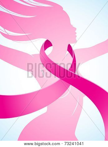 Silhouette of a girl with a pink ribbon
